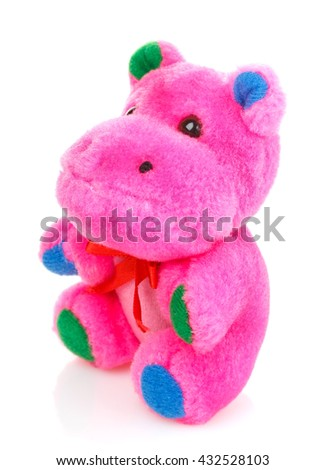 Children toy,Soft teddy pink hippo isolated on white background - stock photo