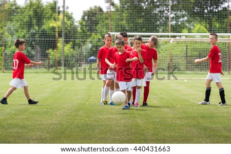 Children Training Soccer in a sport field - stock photo