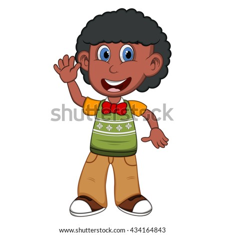 Children waving his hand wearing green short sleeve sweater and creme trousers cartoon - stock photo