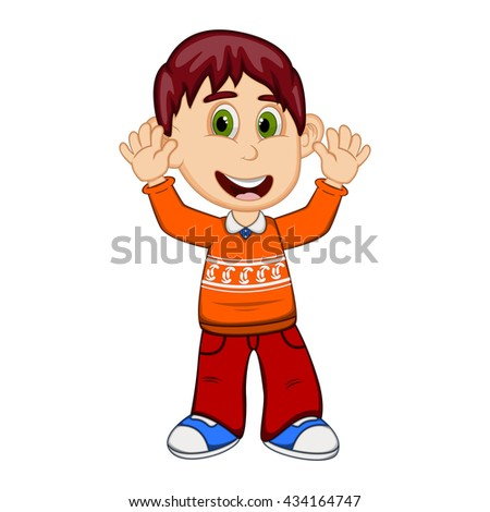 Children waving his hands wearing orange long sleeve sweater and red trousers cartoon - stock photo