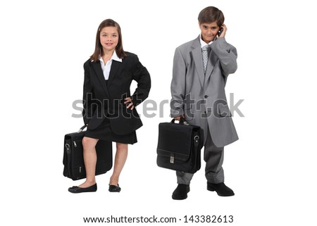 Children wearing suits - stock photo