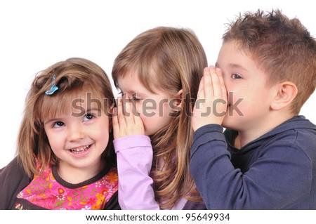 Children whispering - stock photo