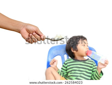 Children who are tired of rice - stock photo