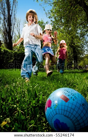 Children with ball - stock photo