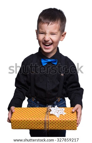 children with Christmas gifts and hands - stock photo