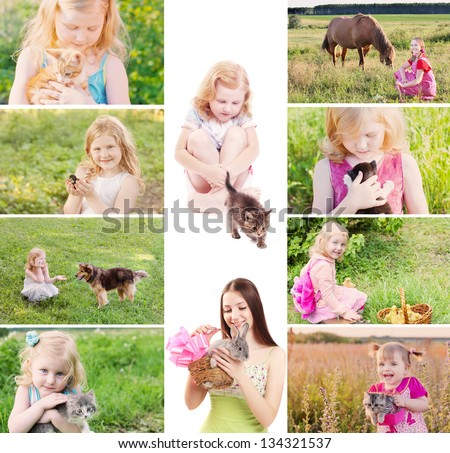 children with pets - stock photo
