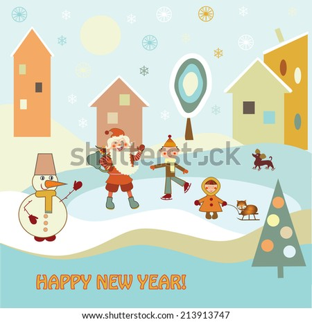 Children with Santa Claus skating - stock photo