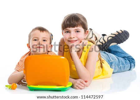 Children with toys laptop isolated on white - stock photo