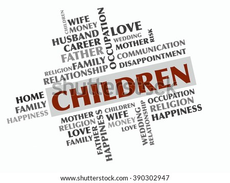 Children word cloud, Relations concept - stock photo