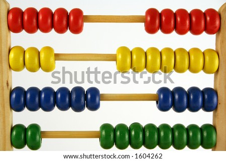 childrens abacus - calculator with all beads at random sides - stock photo