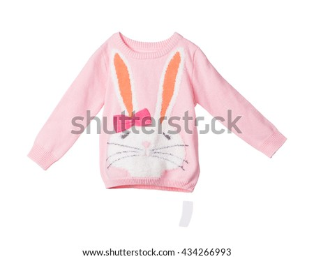 Childrens knitted blouse. Isolated on the white background. - stock photo