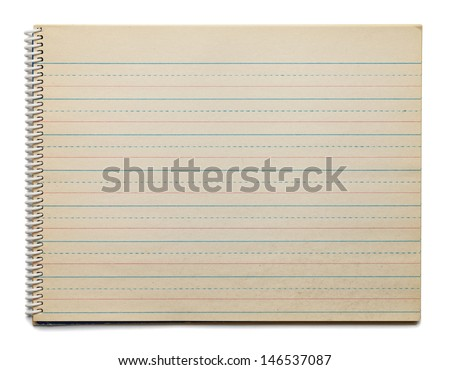 Childrens Old School Paper for Practicing the Alphabet Isolated on White Background. - stock photo