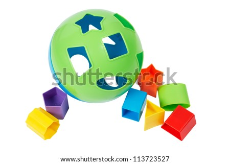 Childrens plastic shape sorter educational toy, isolated on white with path. - stock photo