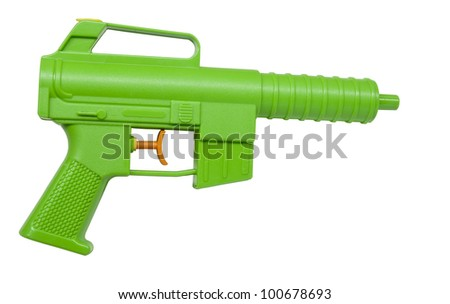 childs plastic water pistol isolated on white - stock photo
