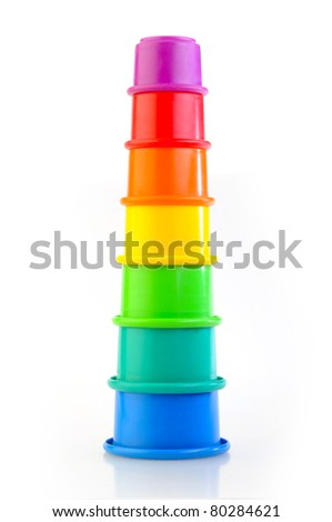 childs toy stacking cups isolated on white background - stock photo