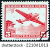 CHILE - CIRCA 1964: A stamp printed in Chile shows Douglas DC-2 and control tower, circa 1964.  - stock photo