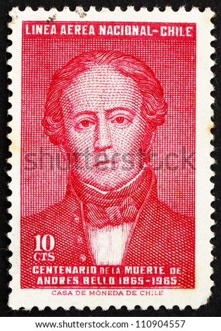 CHILE - CIRCA 1965: a stamp printed in the Chile shows Andres Bello, Venezuela-born Writer and Educator, circa 1965 - stock photo