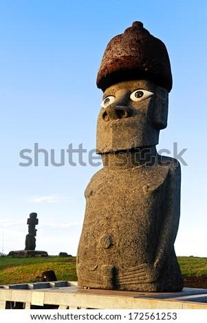 CHILE - FEBRUARY 7: Moai on Easter Island, Chile. - stock photo