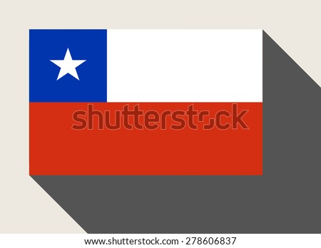Chile flag in flat web design style. - stock photo