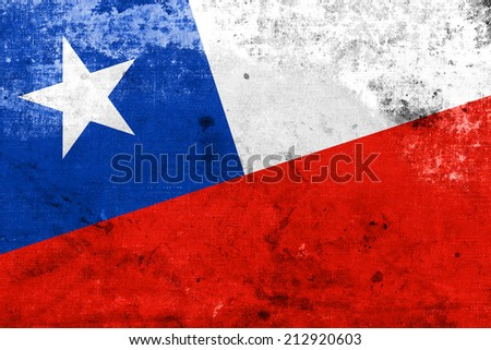 Chile Flag with a vintage and old look - stock photo