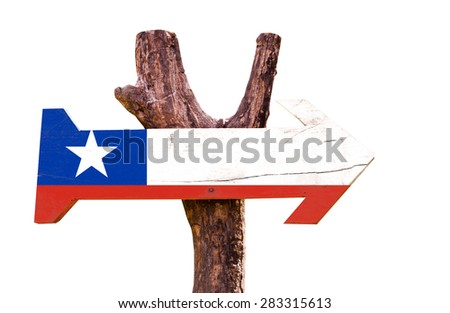 Chile Flag wooden sign isolated on white background - stock photo