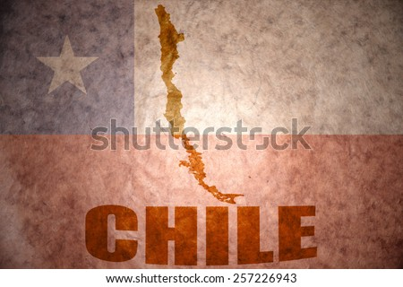 chile map on a vintage chilean flag background - stock photo