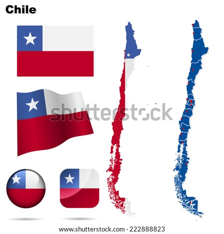 Chile set. Detailed country shape with region borders, flags and icons isolated on white background. - stock photo