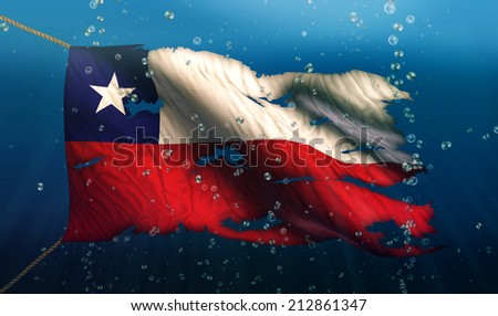Chile Under Water Sea Flag National Torn Bubble 3D - stock photo