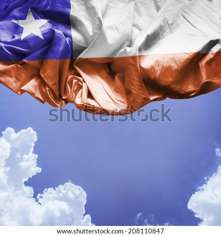 Chile waving flag on a beautiful day - stock photo