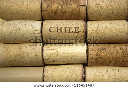 Chile wine corks in rows - stock photo
