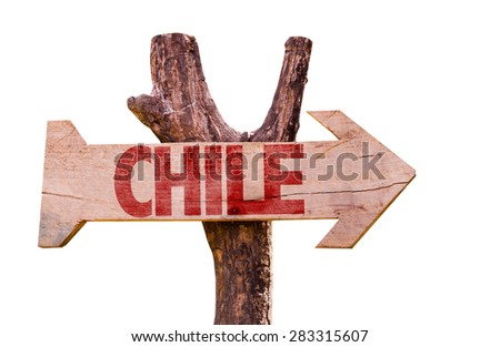 Chile wooden sign isolated on white background - stock photo