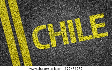 Chile written on the road - stock photo