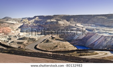 Chilean copper extractions, mines at Coquimbo region - stock photo