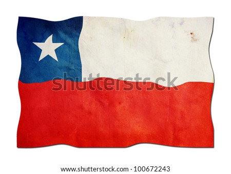 Chilean Flag made of  Paper - stock photo