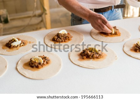 Chilean Food preparation at the bakery - stock photo