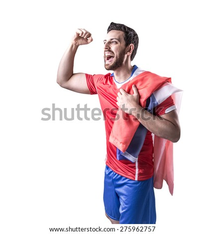 Chilean Soccer player on white background - stock photo