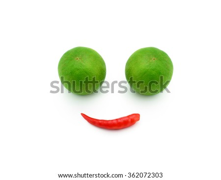 Chili and lime on white background,smile - stock photo
