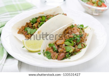 chili con carne in wheat tortillas on a plate on a white table horizontal - stock photo