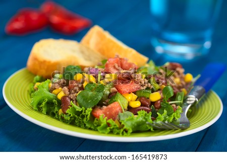 Chili con carne salad made of mincemeat, kidney beans, watercress, green bell pepper, tomato, sweet corn and red onions served on lettuce on a plate (Selective Focus, Focus one third into the salad) - stock photo