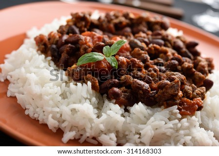 Chili con carne with Basmati rice - stock photo