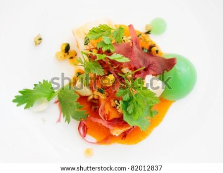 Chili crab with molecular egg yolk - stock photo