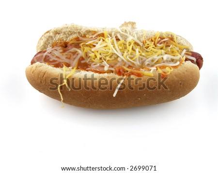 Chili dog with cheese - stock photo