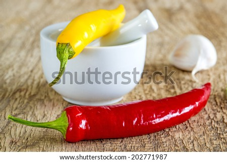 chili fruits with mortar - stock photo