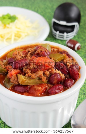 Chili is the perfect food for the big football game - stock photo