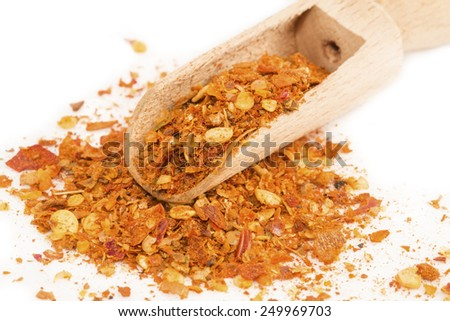 Chili pepper ground in the wooden spoon - stock photo