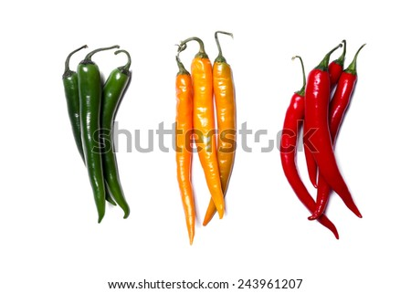 Chili pepper on a white background - stock photo