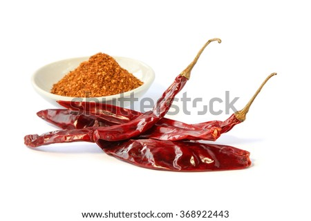 Chili powder and dried red chili pepper, Food ingredient, Culinary,Vegetable. - stock photo