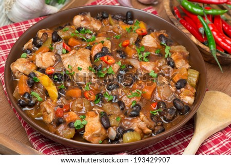 chili with black beans and chicken, top view, close-up - stock photo
