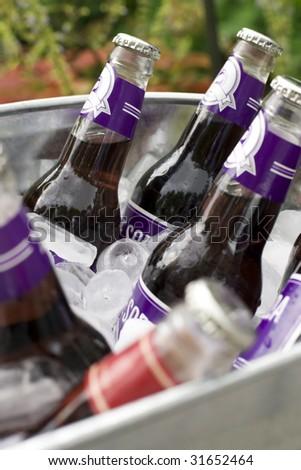 Chilled bucket of soda - stock photo