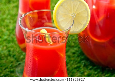 Chilled Orange Lemon Sangria in a summer setting - stock photo